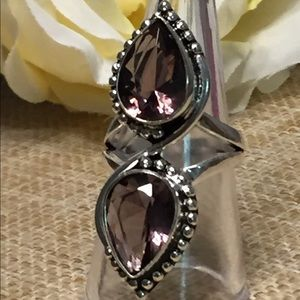JK Designs Jewelry - Two-Stone Pear-shaped Amethyst Tibetan Silver Ring